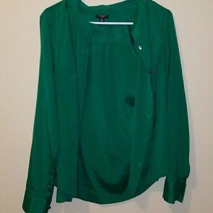Ann Taylor 4 Green Silk Button Up Shirt